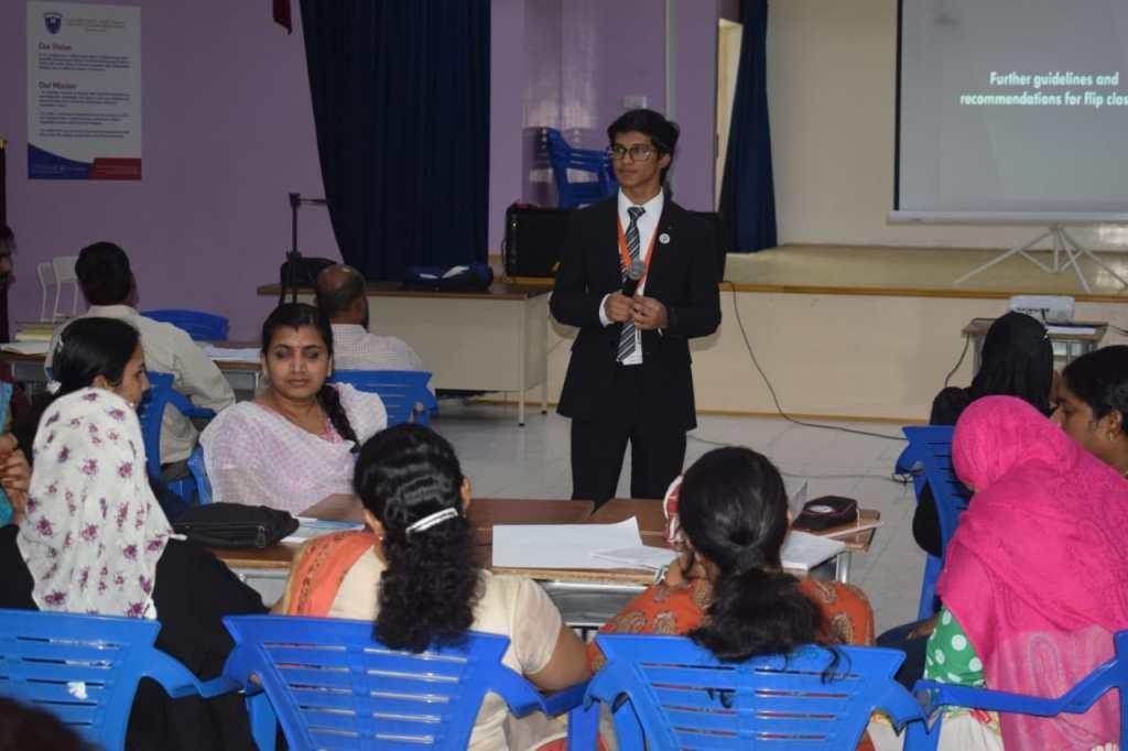 Mohammad Amaan Siddiqui giving workshop at Crescent English High School Dubai