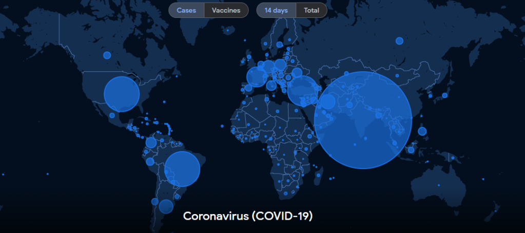 global covid pandemic cases map