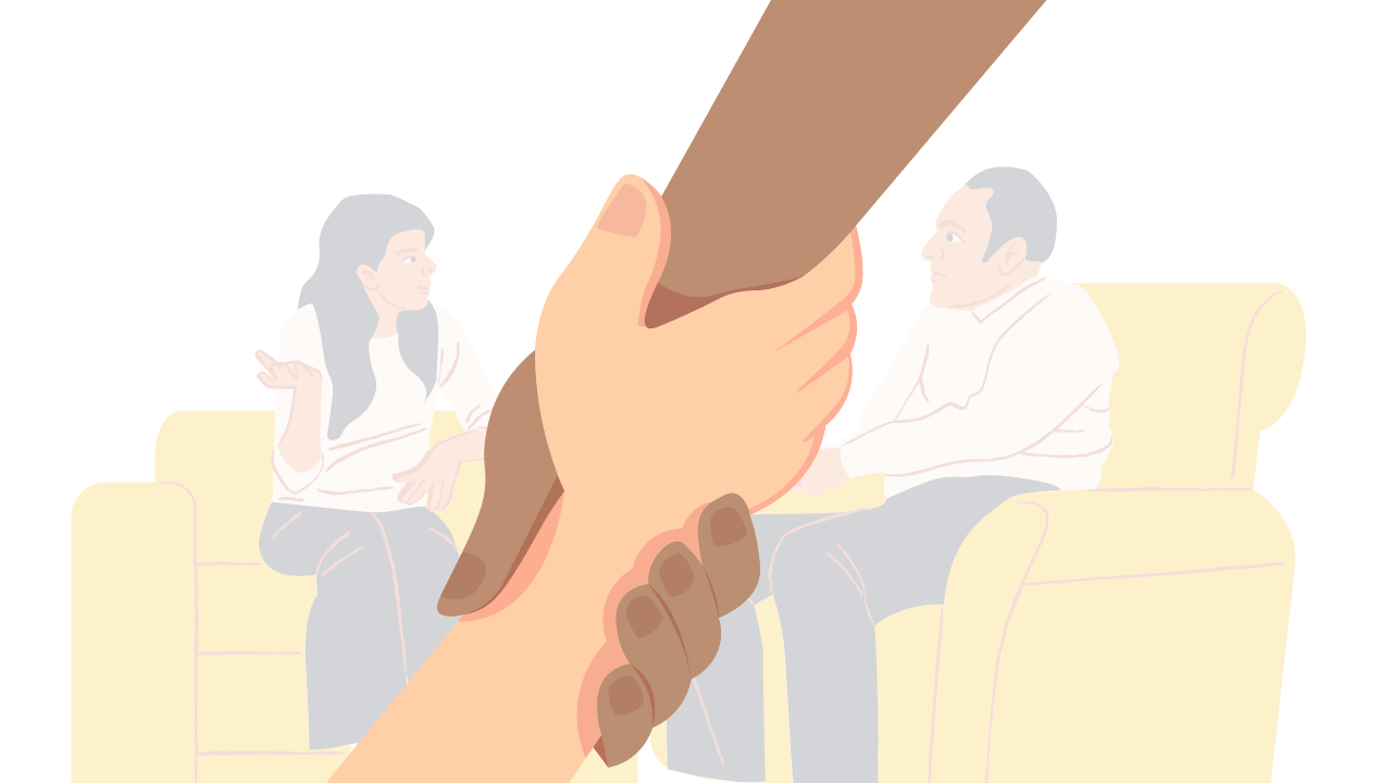 therapy and seeking help hands